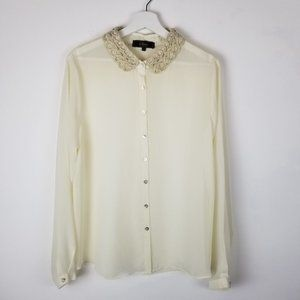Status L Cream Sheer Button up blouse with Statement Textured Crocheted Collar